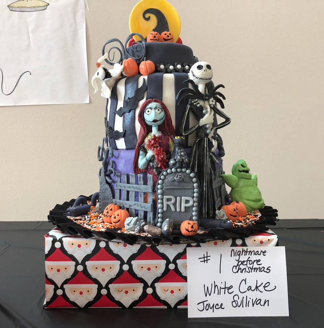 "Tom Rysinski/Pahrump Valley Times Among the most elaborate cakes available at the spaghetti dinner and cake auction was this ""Nightmare Before Christmas"" cake courtesy of Joyce Sullivan."