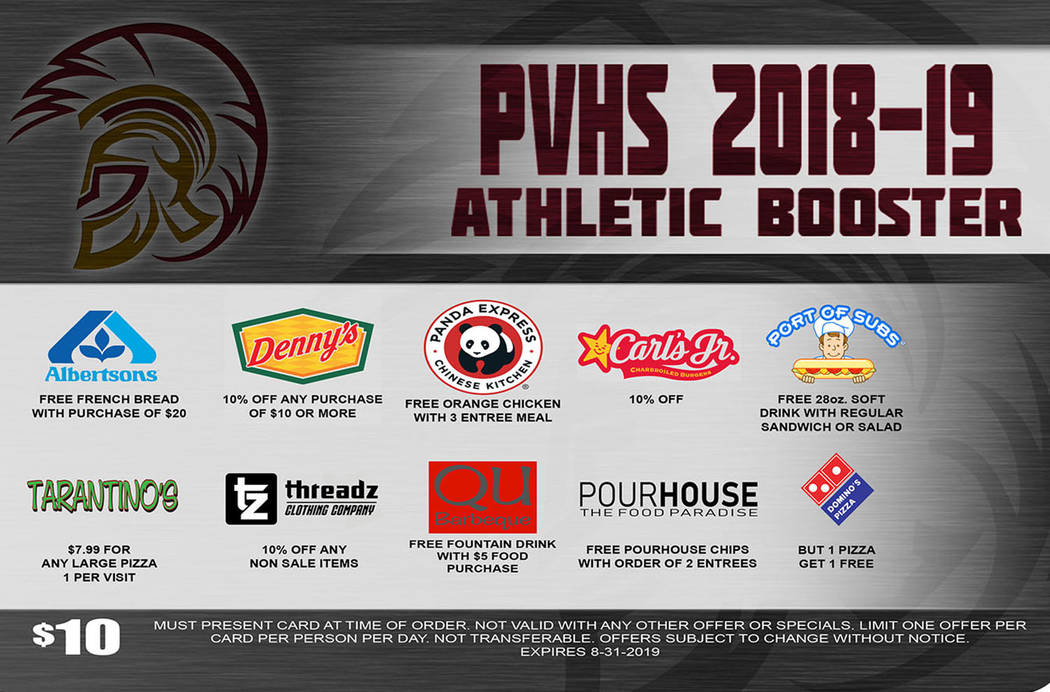 Special to the Pahrump Valley Times The Pahrump Valley High School Booster Club discount card offers special deals from 20 merchants in Pahrump on things from meals to auto service.
