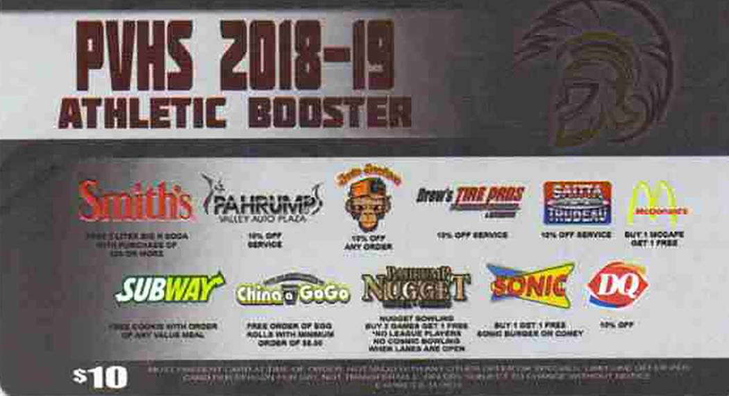 Special to the Pahrump Valley Times The Pahrump Valley High School Booster Club discount card program is one of the club's biggest fundraisers, with money used for equipment purchases for Trojan a ...