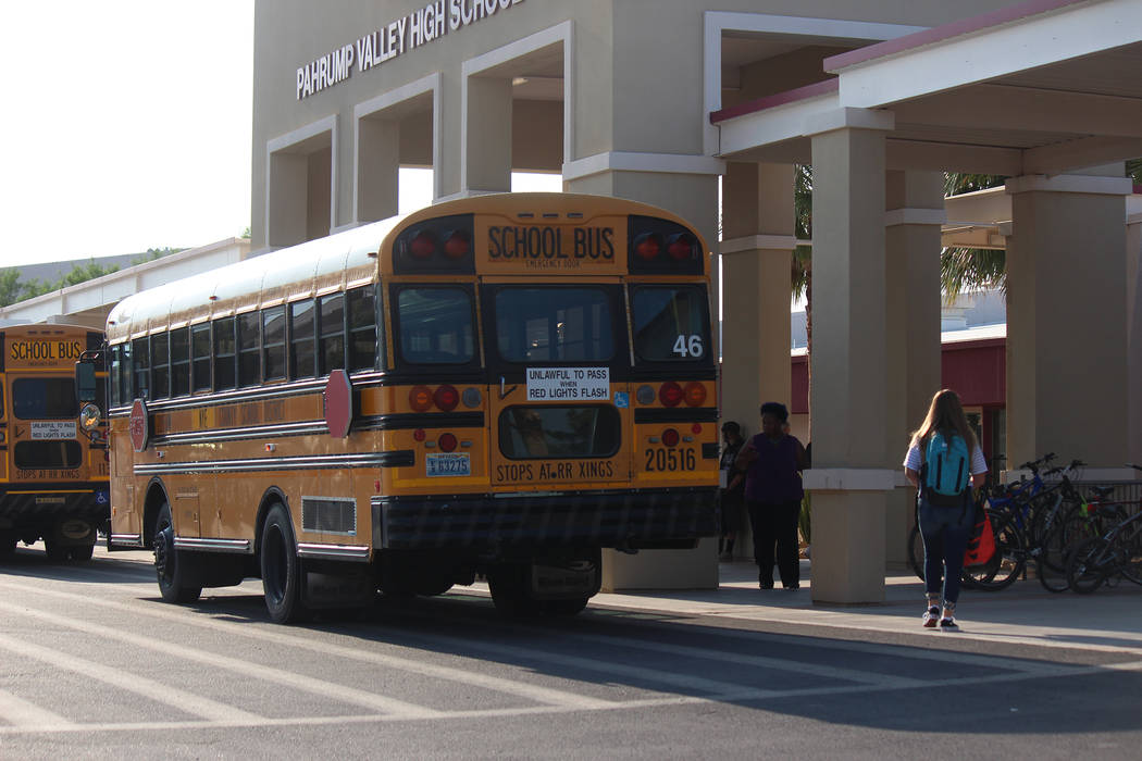 Jeffrey Meehan/Pahrump Valley Times Students enter Pahrump Valley High School for the first day of classes on Aug. 13, 2018. Estimates from the Nye County School District show at least 3,900 stude ...