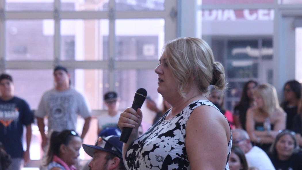 Jeffrey Meehan/Pahrump Valley Times Jennifer Ehrheart, principal at Pahrump Valley High School, speaks to families and incoming freshman during freshman orientation on Aug. 10, 2018. Dozens of fam ...