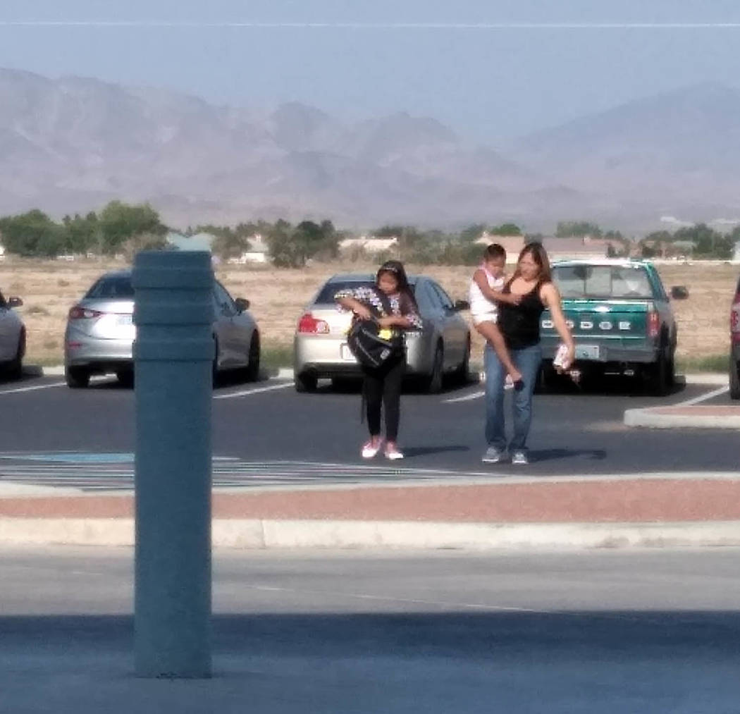 Selwyn Harris/Pahrump Valley Times Many parents opted to drive their children to school when classes resumed on Monday August 13. For students who were a bit anxious about the the new school year, ...