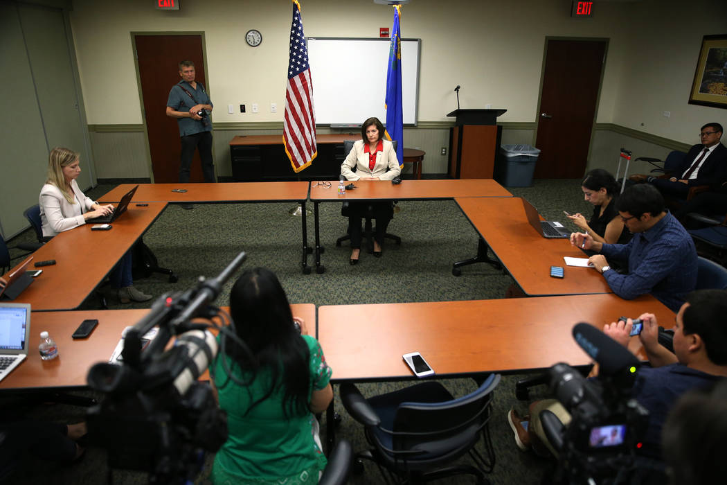Erik Verduzco Las Vegas Review-Journal U.S. Sen. Catherine Cortez Masto, D-Nev., speaks during a roundtable with reporters at the Lloyd George U.S. Courthouse in Las Vegas, Friday, Aug. 10, 2018.