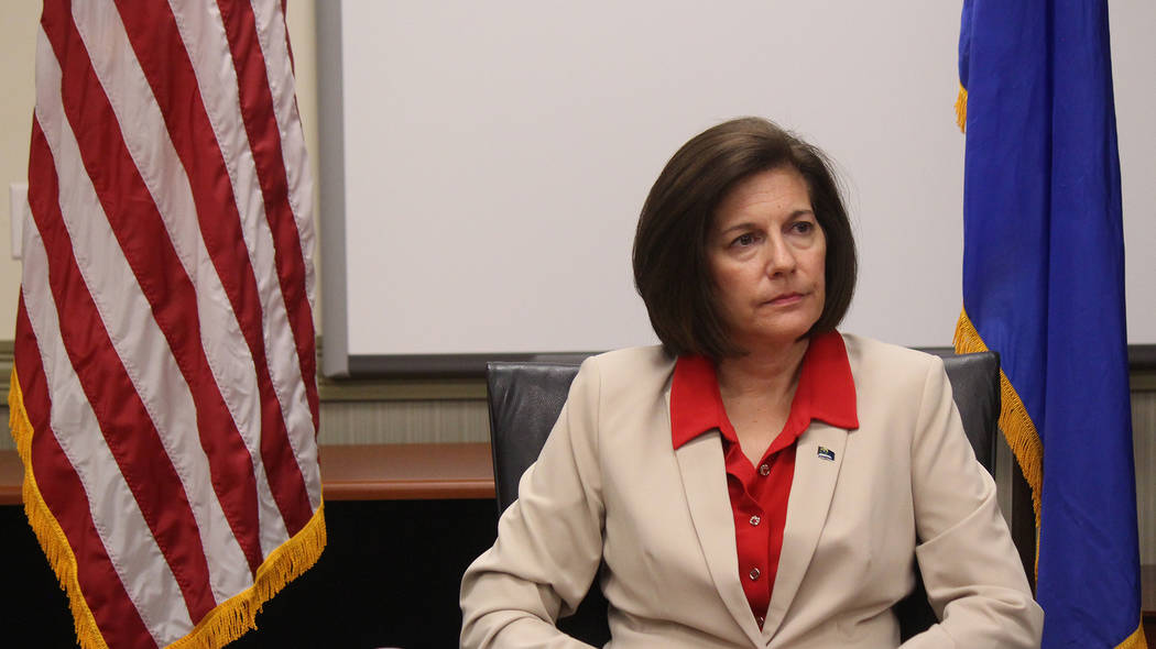 Jeffrey Meehan/Pahrump Valley Times U.S. Sen. Catherine Cortez Masto, D-Nev., at the Lloyd George U.S. Courthouse in Las Vegas, Friday, Aug. 10, 2018. The senator spoke with reporters about varyin ...