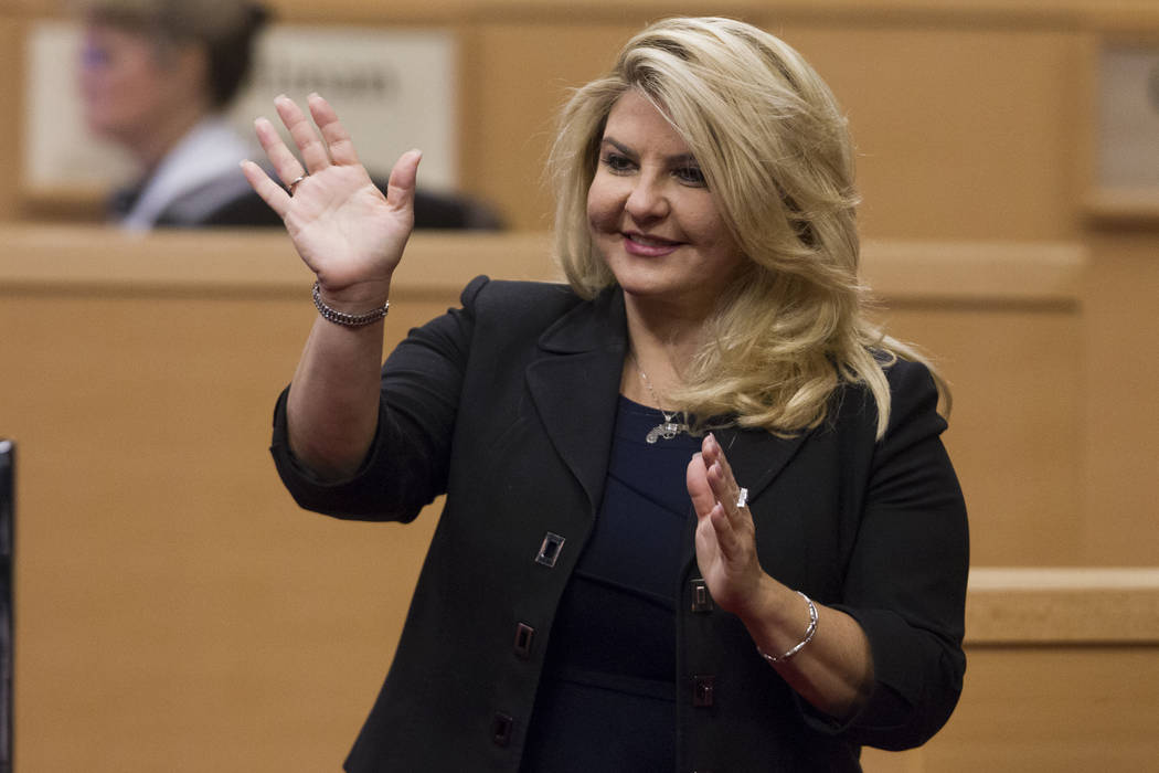 Erik Verduzco/Las Vegas Review-Journal Councilwoman Michele Fiore after being sworn into office at Las Vegas City Hall in Las Vegas on Wednesday, July 19, 2017.