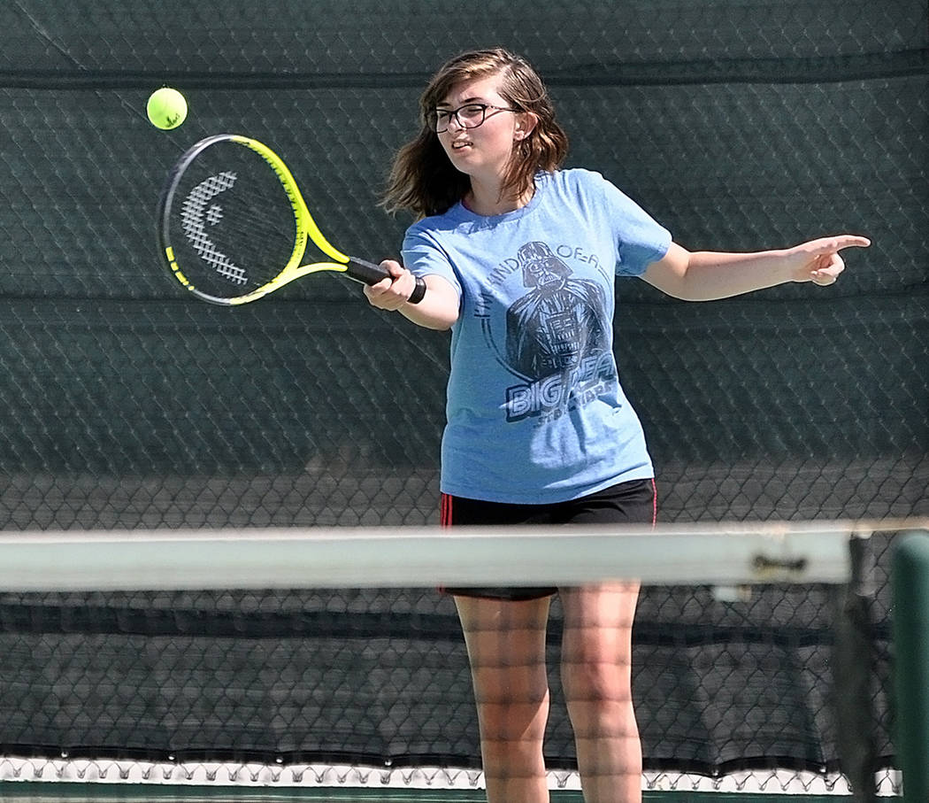 Horace Langford Jr./Pahrump Valley Times Junior Summit Gilman strokes a forehand during Pahrump Valley tennis practice Aug. 16 at the high school tennis courts.