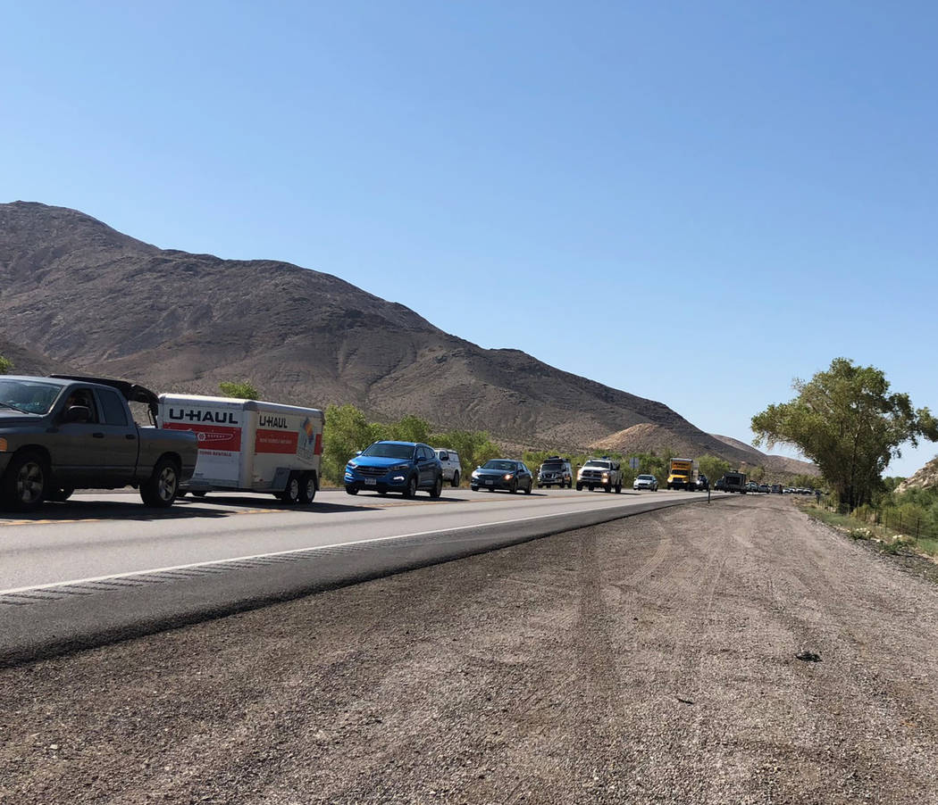 Tom Rysinski/Pahrump Valley Times A normally quiet stretch of U.S. 95 North leading into Beatty is backed up Saturday with traffic headed to the starting line of the General Tire Vegas to Reno race.