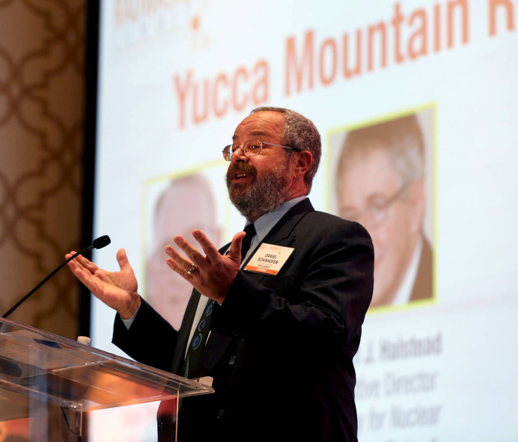 Elizabeth Brumley/Las Vegas Review-Journal Nye County Commissioner Dan Schinhofen speaks during a debate on restarting the Yucca Mountain Project at the JW Marriott hotel-casino in Las Vegas, Wedn ...