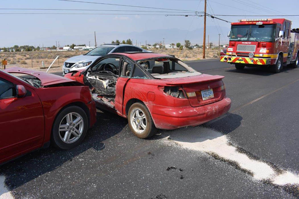 Special to the Pahrump Valley Times Emergency crews transported two people to Desert View Hospital following a two vehicle collisionjust after 4:30 p.m. on Wednesday August 15. Fire crews were for ...