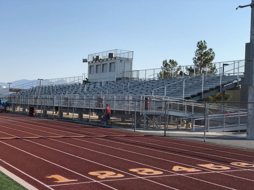 Tom Rysinski/Pahrump Valley Times The home-side bleachers at Pahrump Valley High School's football stadium figure to be packed when Virgin Valley travels to Pahrump for the Trojans' home opener.