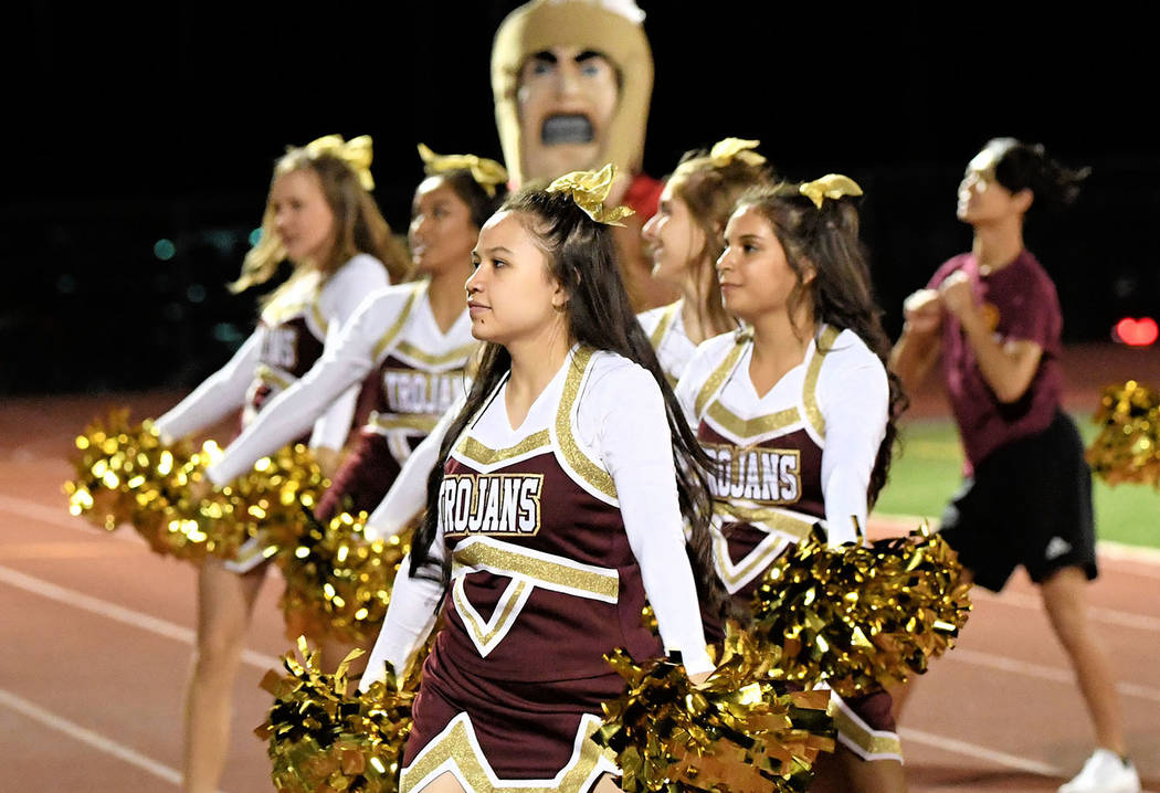 Peter Davis/Special to the Pahrump Valley Times Pahrump Valley's cheer squad supports the football team during a Sept. 28, 2017 game against Desert Pines in Pahrump.
