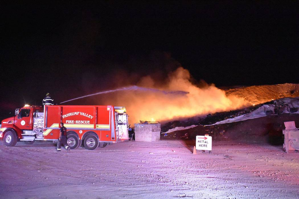Photo courtesy of Nye County Upon arrival on Monday night, an approximate 100-foot-by-100-foot-by-20-foot rubbish fire was found.