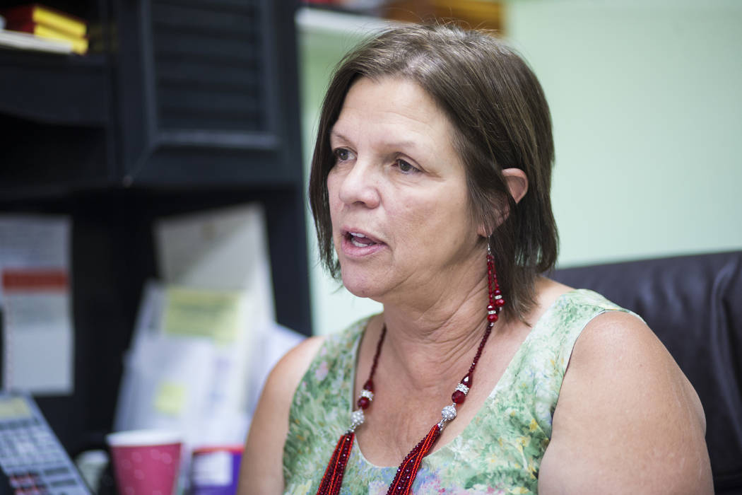 Salli Kerr, executive director of Nevada Outreach, which assists victims of sexual assault and human trafficking, talks about the proposed brothel ban at her office in Pahrump on Friday, July 20, ...
