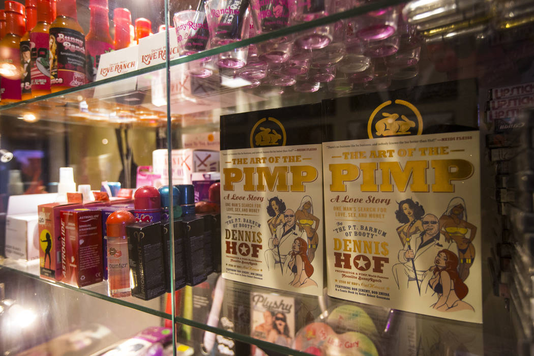 "Copies of ""The Art of the Pimp"" book by brothel owner Dennis Hof at the Love Ranch brothel in Crystal, just north of Pahrump, on Friday, July 20, 2018. Chase Stevens Las Vegas Review-Jou ..."