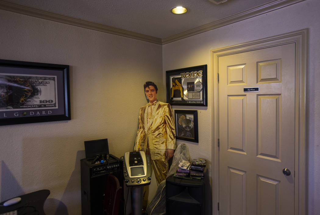 A cardboard cutout of Elvis Presley in a bar area at the Love Ranch brothel in Crystal, just north of Pahrump, on Friday, July 20, 2018. Chase Stevens Las Vegas Review-Journal @csstevensphoto