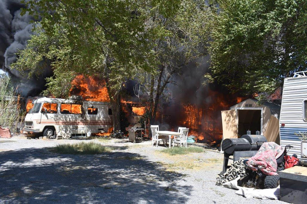 Special to the Pahrump Valley Times As crews were working to extinguish Tuesday's structure fire, Chief Lewis said crews were forced to be aware of additional life-threatening perils on the fire g ...
