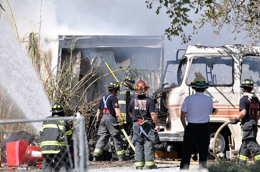 Horace Langford Jr./Pahrump Valley Times While fire crews were still working the Wilson Road structure fire, Chief Scott Lewis also noted that the department was inundated with additional service ...