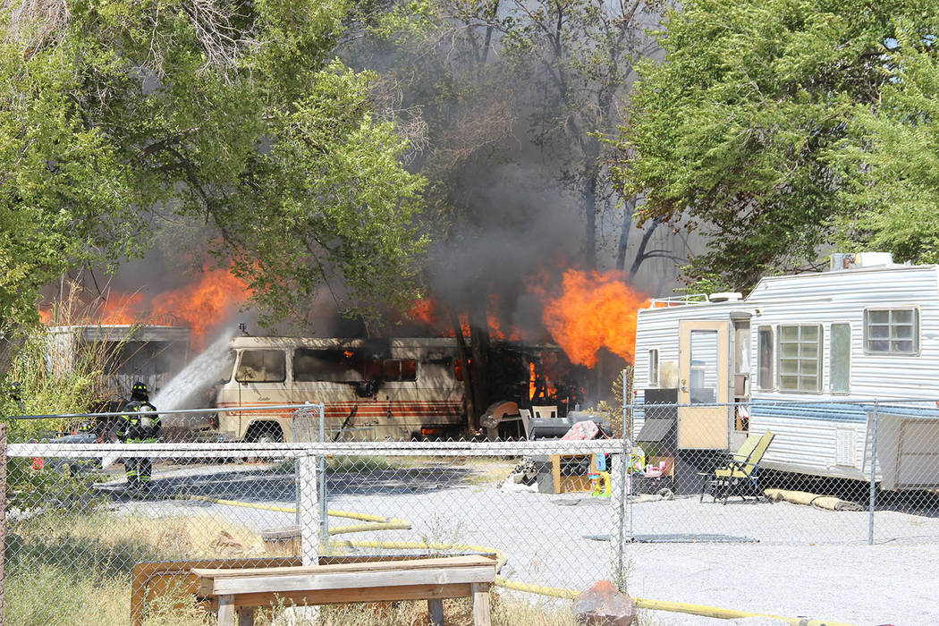 Special to the Pahrump Valley Times More than six hours after the 2 p.m. structure fire began, Pahrump fire crews had extinguished the blaze which destroyed, five structures on Tuesday August 21. ...