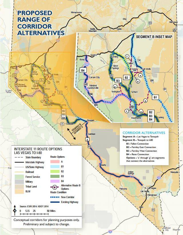 Special to the Pahrump Valley Times The Nevada Department of Transportation has narrowed down the number of routes it plans to recommend going forward from five to two. The two potential routes, B ...