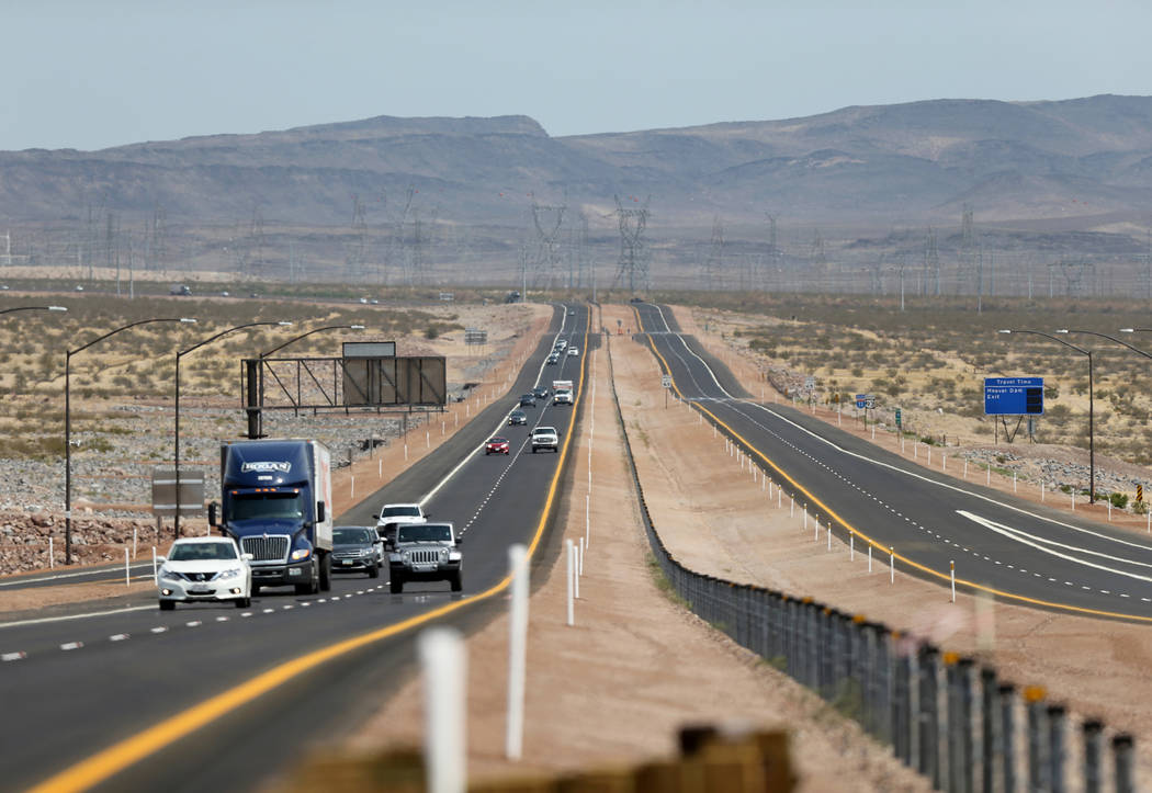 K.M. Cannon Las Vegas Review-Journal Traffic moves on the northbound lanes of Interstate 11 near U.S. Highway 95 after a ceremony marking the opening of a 12.5 mile section of the freeway, also kn ...