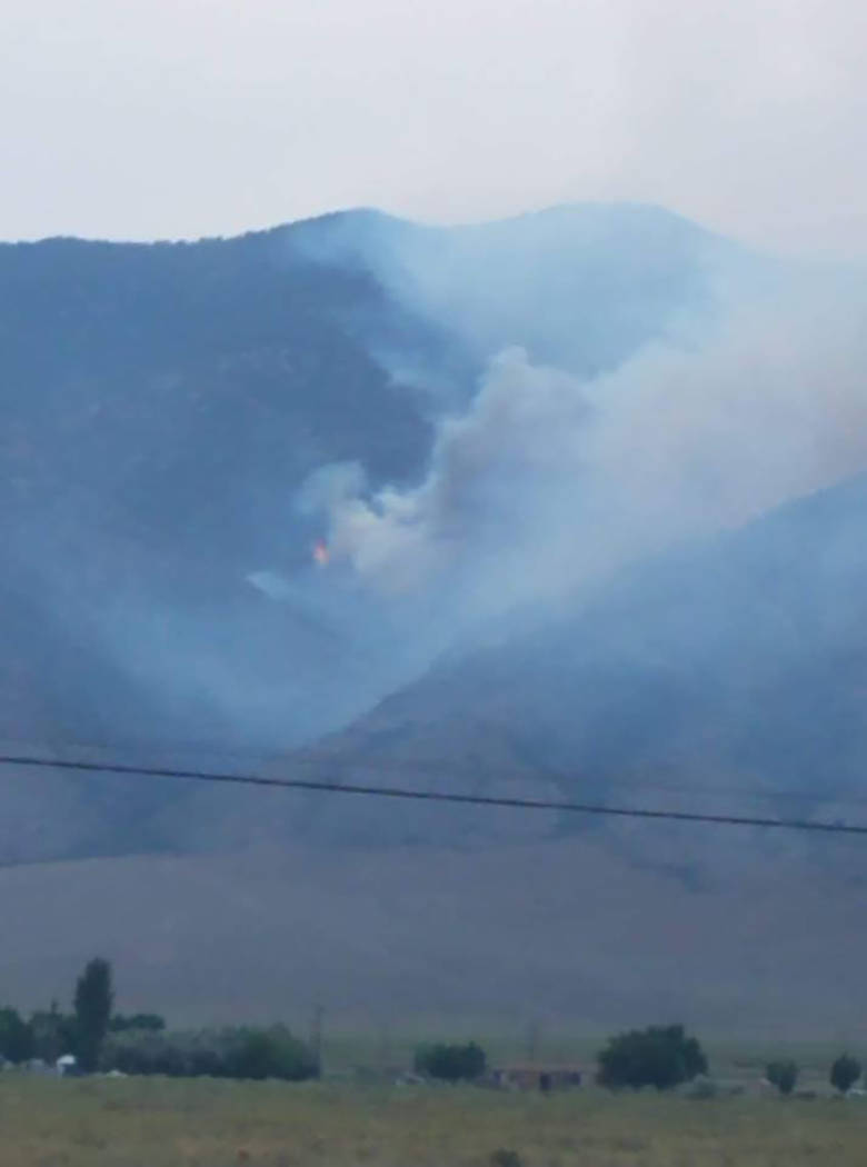 Corrine Dowers/Special to the Times-Bonanza A look at the Broad Fire near Round Mountain in July. The blaze burned more than 500 acres.