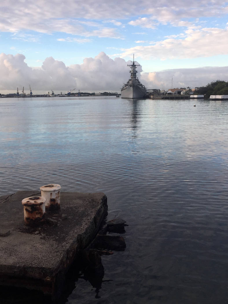 Keith Rogers/Las Vegas Review-Journal) The USS Missouri sits in Pearl Harbor, Hawaii, Monday, Dec. 5, 2016, as seen from the sunken USS Arizona memorial.