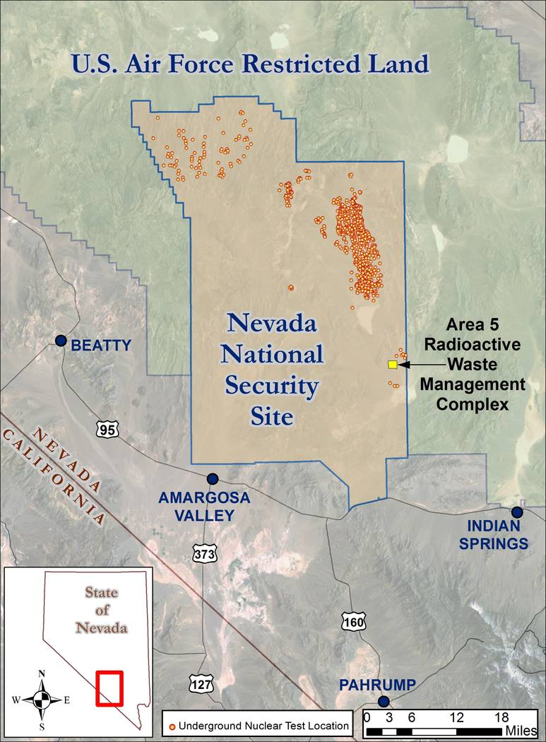 Special to the Pahrump Valley Times A map shows the location of the Nevada National Security Site where the U.S. Department of Energy constructed a new cell for mixed low-level waste. The new cel ...