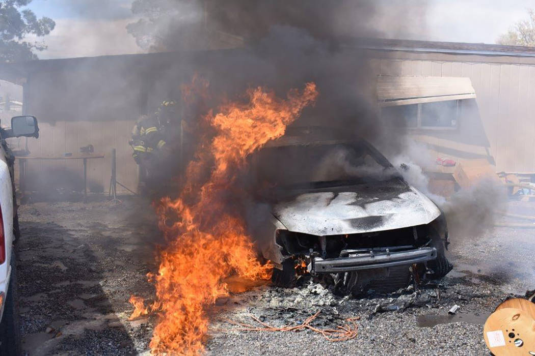 Special to the Pahrump Valley Times Though no injuries were reported, a passenger car was destroyed and a pickup truck sustained substantial damage following a vehicle and structure fire along Wes ...