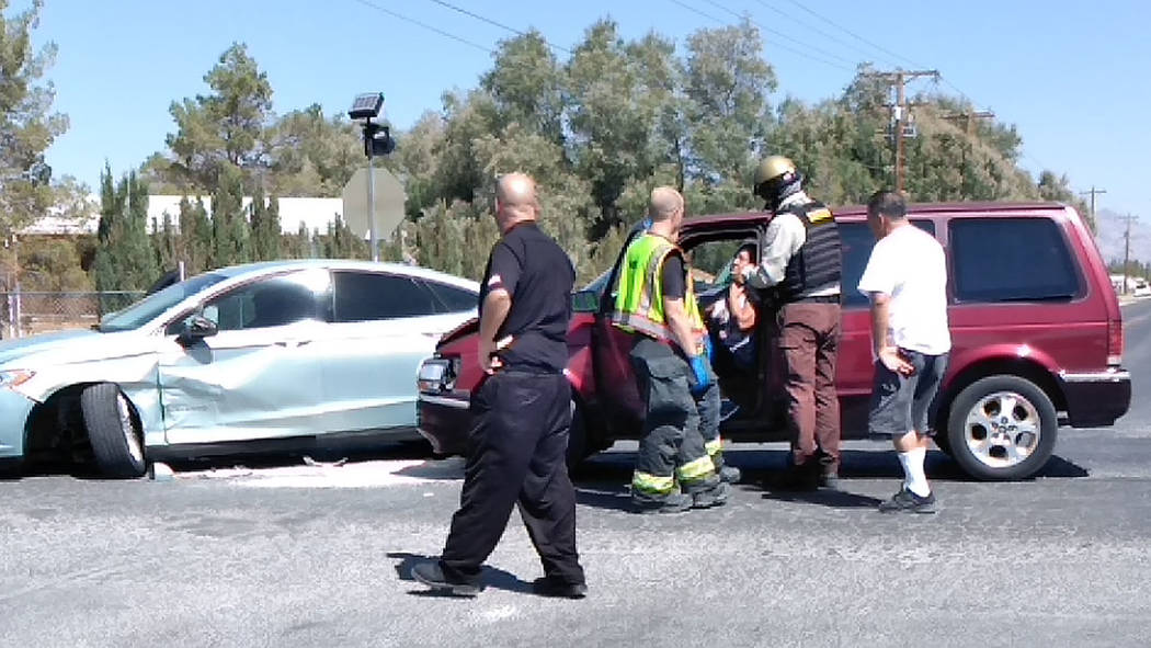 Selwyn Harris/Pahrump Valley Times A two-vehicle crash at Charleston Park Drive and Barney Street sent at least three people to Desert View Hospital this week. The collision occurred just before 1 ...