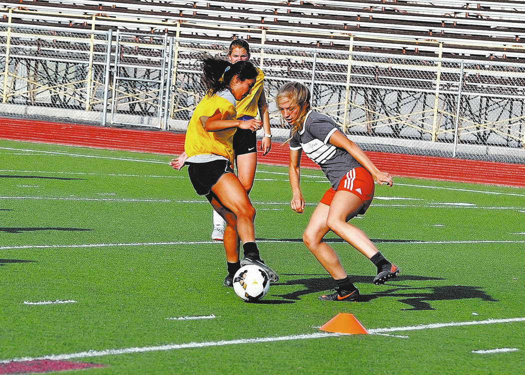 Horace Langford Jr./Pahrump Valley Times - PVHS Girls soccer practice