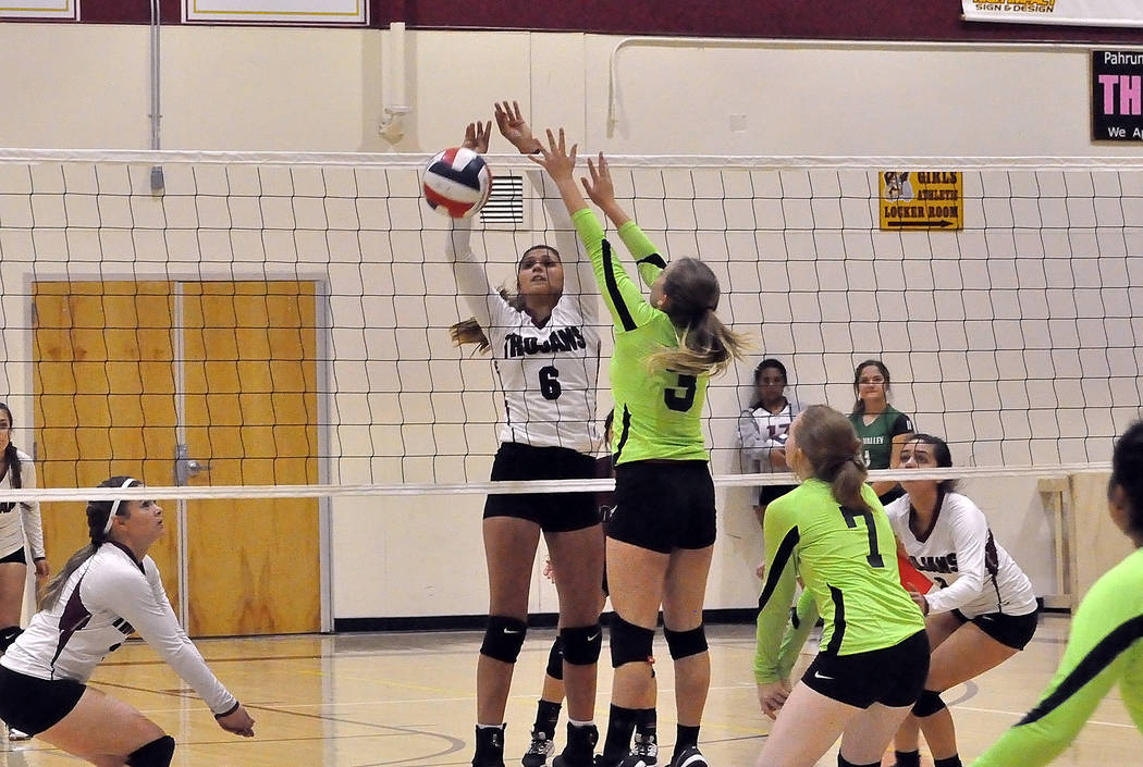 Horace Langford Jr./Pahrump Valley Times Sophomore Nicky Velazquez drops a kill on Virgin Valley during Pahrump Valley's 3-0 sweep of the Bulldogs on Wednesday night in Pahrump.