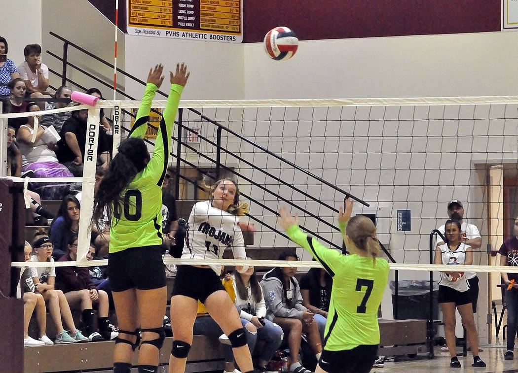 Horace Langford Jr./Pahrump Valley Times Pahrump Valley senior Jackie Stobbe sends the ball over the net against Virgin Valley on Wednesday in Pahrump. Stobbe recorded nine assists in a 25-13, 25- ...