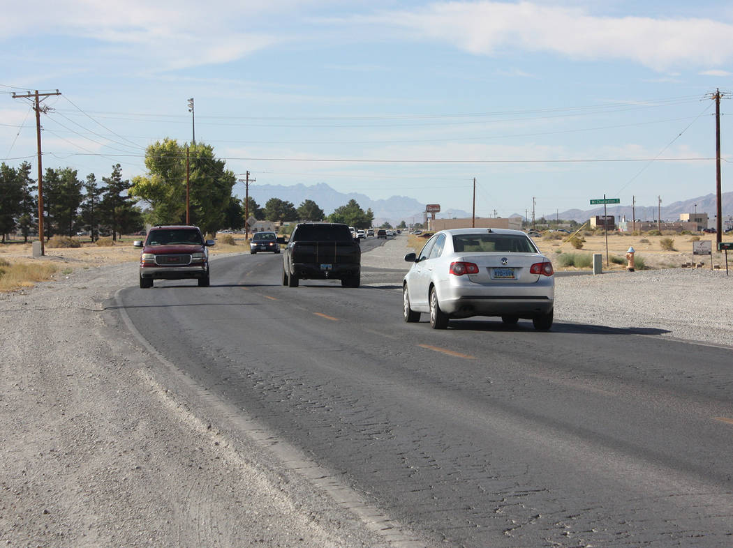 Robin Hebrock/Pahrump Valley Times Vehicles are seen traveling along Pahrump Valley Boulevard between Highway 372 and Calvada Boulevard on August 30. In the coming weeks, this area will become a c ...