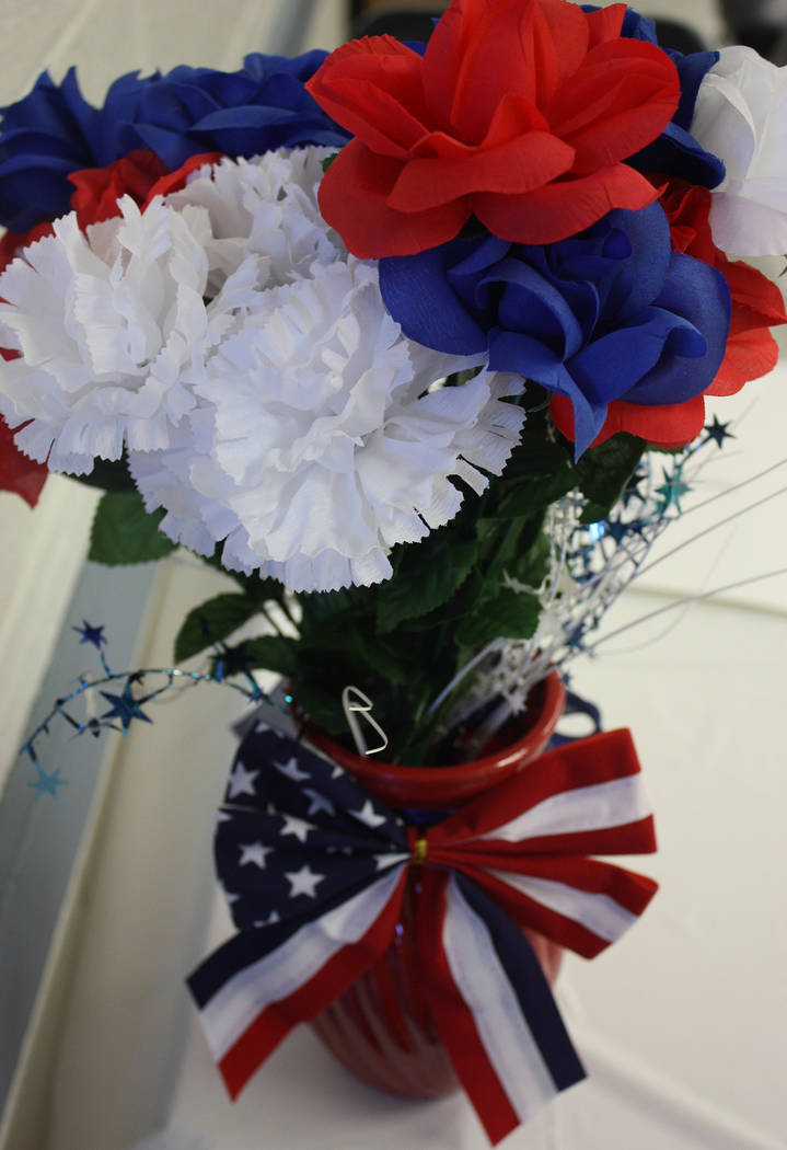 Robin Hebrock/Pahrump Valley Times Red, white and blue decorations welcomed attendees of the Pahrump Veterans Forum, adding a patriotic flair to the informational event.