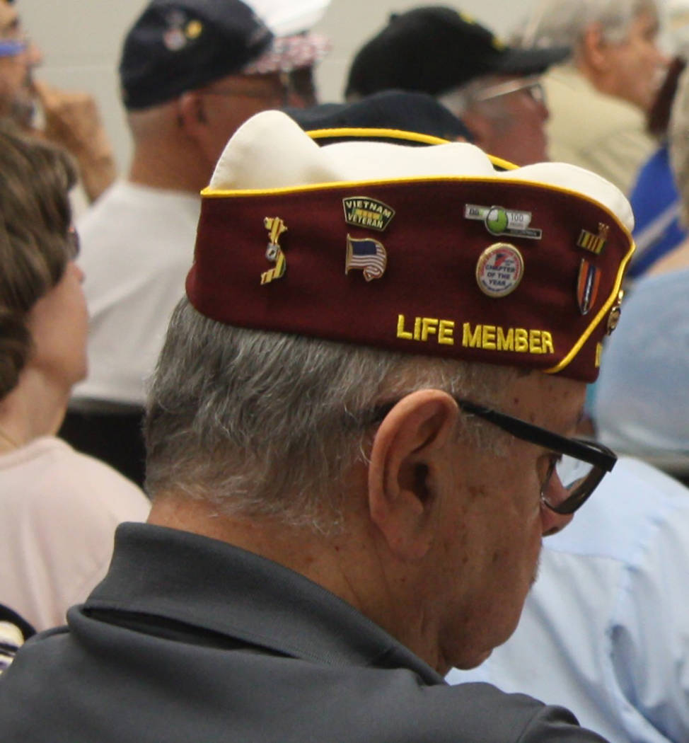Robin Hebrock/Pahrump Valley Times Military caps and hats were easy to spot amid the large crowd of veterans who turned out for the Pahrump Veterans Forum.