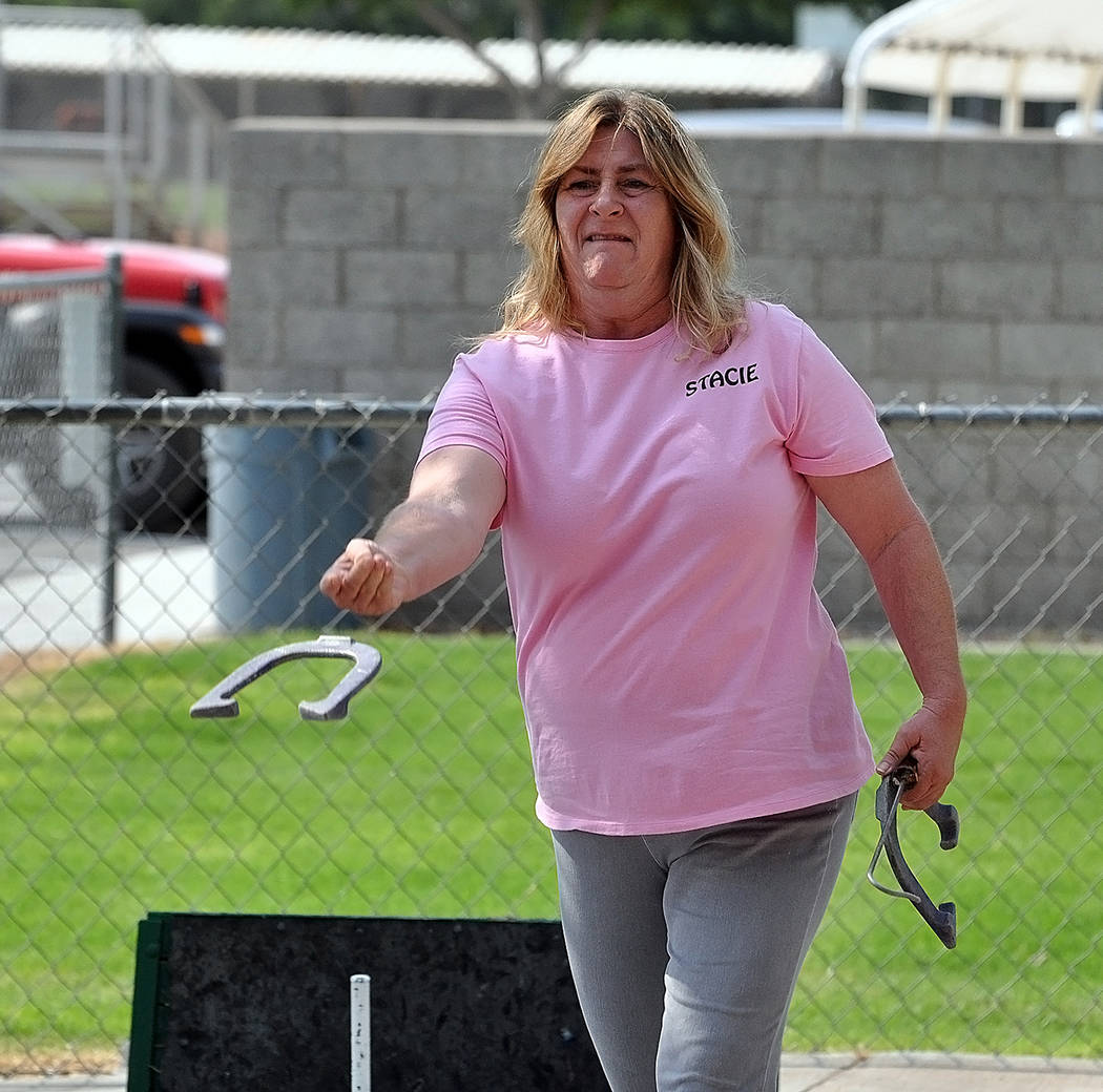 Horace Langford Jr./Pahrump Valley Times Stacie Nicosia edged her husband, Mike, on a tiebreaker to win the C Division championship at the Shade Tree Open in Pahrump.
