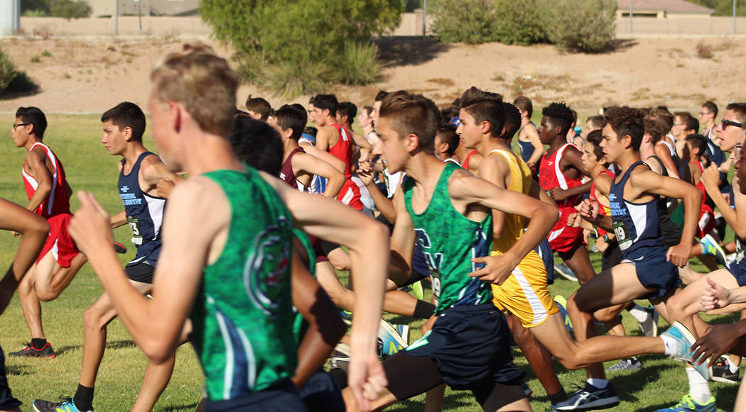 Tom Rysinski/Pahrump Valley Times A field of 133 runners breaks from the starting line of the boys freshman/sophomore race during the Labor Day Classic cross-country race at Palo Verde High School ...