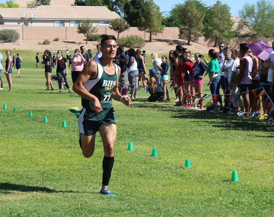 Tom Rysinski/Pahrump Valley Times Beatty junior Jose Granados nears the finish line of the Labor Day Classic at Palo Verde High School. Granados finished 14th in the junior/senior race in 18 minut ...