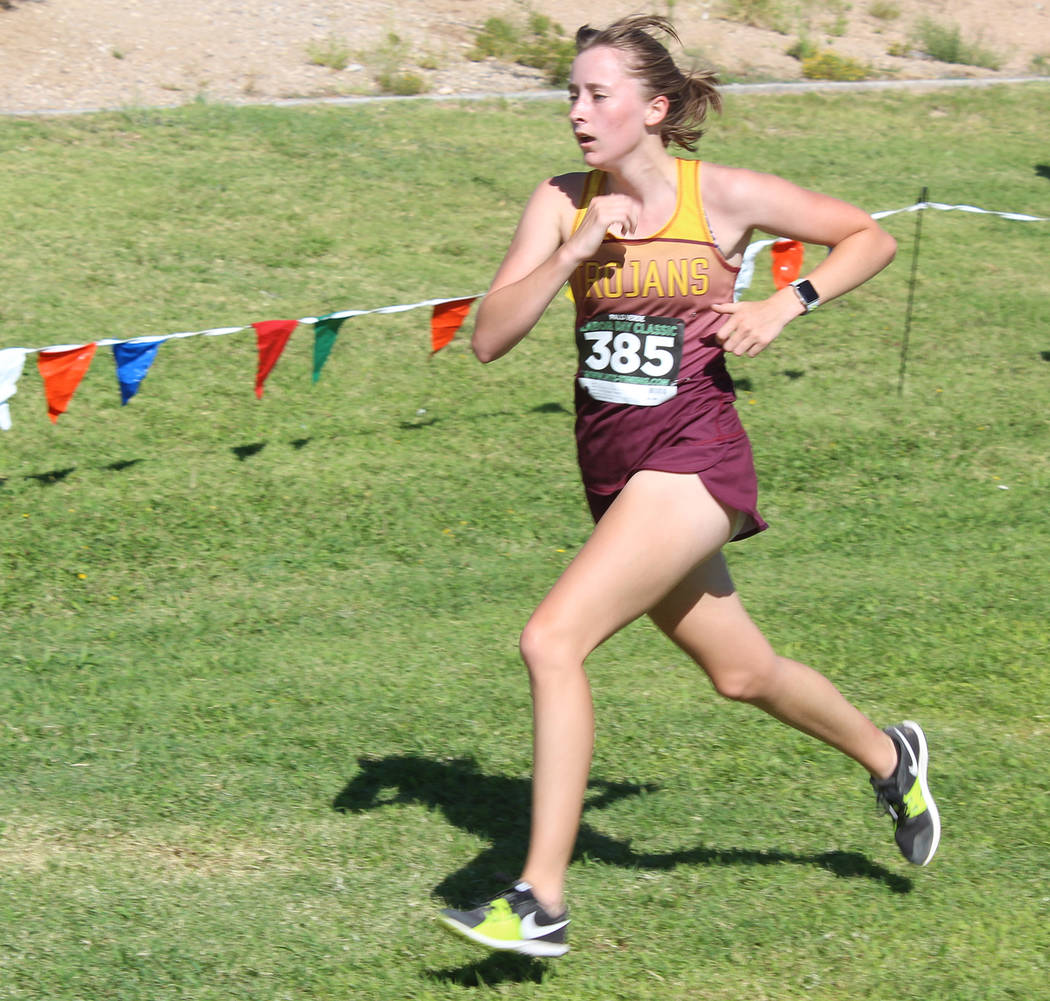 Tom Rysinski/Pahrump Valley Times Pahrump Valley senior Katherine Goodman was the Trojans' top finisher at the Labor Day Classic in Las Vegas, covering the 5K course in 24 minutes, 38 seconds.