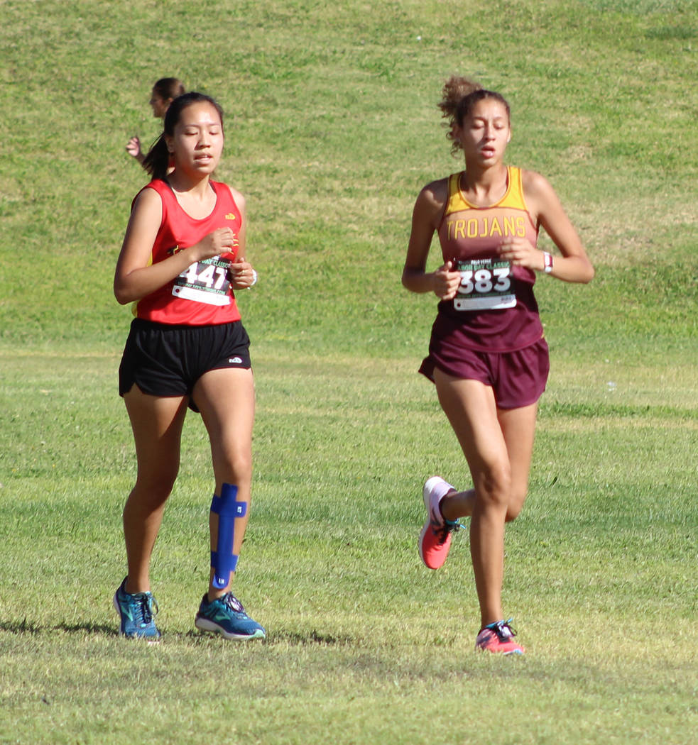 Tom Rysinski/Pahrump Valley Times Junior Nrsringa Breathwaite of Pahrump Valley covered the 5,000-meter course at Palo Verde High School in 27 minutes, 19 seconds at the Labor Day Classic.