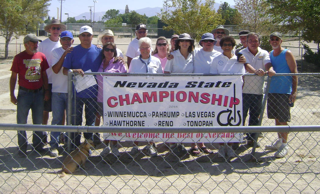 Mike Norton/Special to the Pahrump Valley Times Competitors, including eight from Pahrump, gathered Aug. 25 in Hawthorne for the Nevada State Horseshoe Pitchers Association championships.