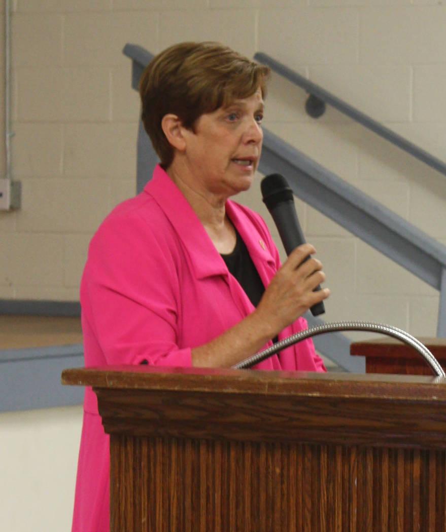 Robin Hebrock/Pahrump Valley Times Nevada Department of Veterans Service Director Kat Miller was a key speaker during the Pahrump Veterans Forum.
