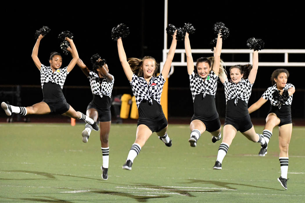 Peter Davis/Special to the Pahrump Valley Times The Pahrump Valley High School dance team performs at halftime of the Trojans' 42-14 homecoming victory over Sunrise Mountain