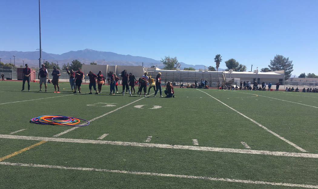Jennifer Ehrheart/Special to the Pahrump Valley Times Pahrump Valley High School held a homecoming assembly at the football field Aug. 31 before the big game that night against Sunrise Mountain.