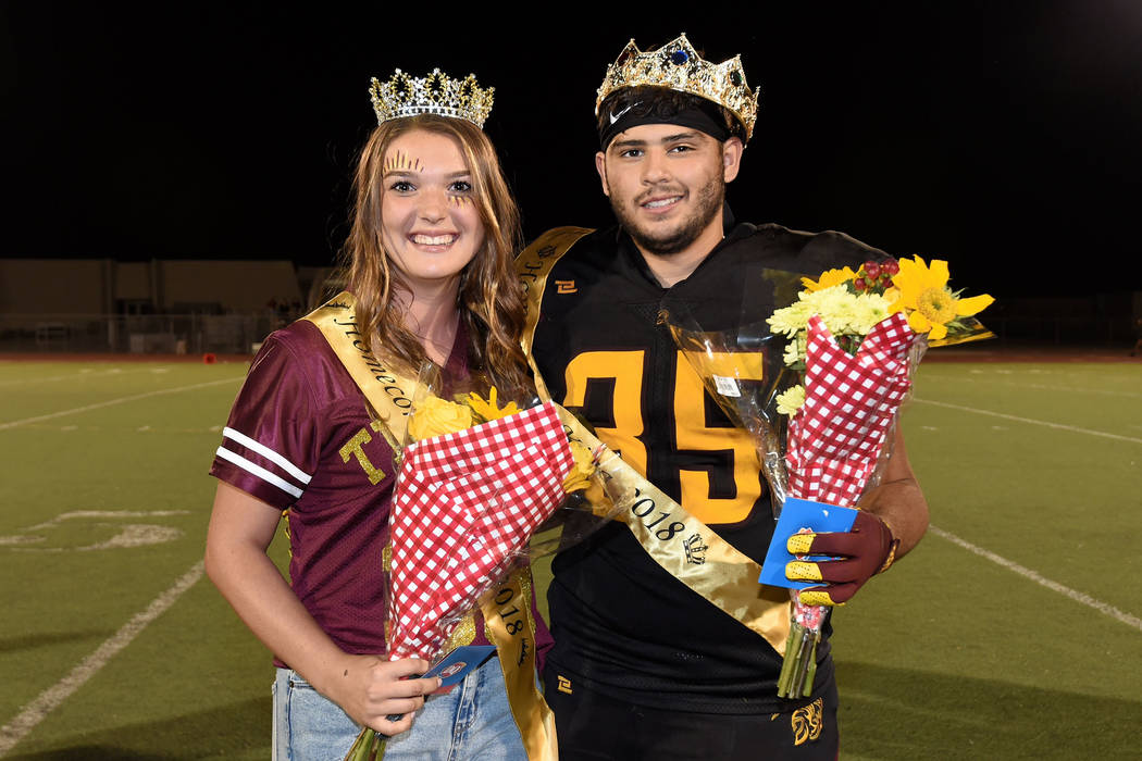 Peter Davis/Special to the Pahrump Valley Times Homecoming queen Halie Souza and homecoming king Nico Velazquez were crowned at halftime of Pahrump Valley's 42-14 win over Sunrise Mountain on Frid ...