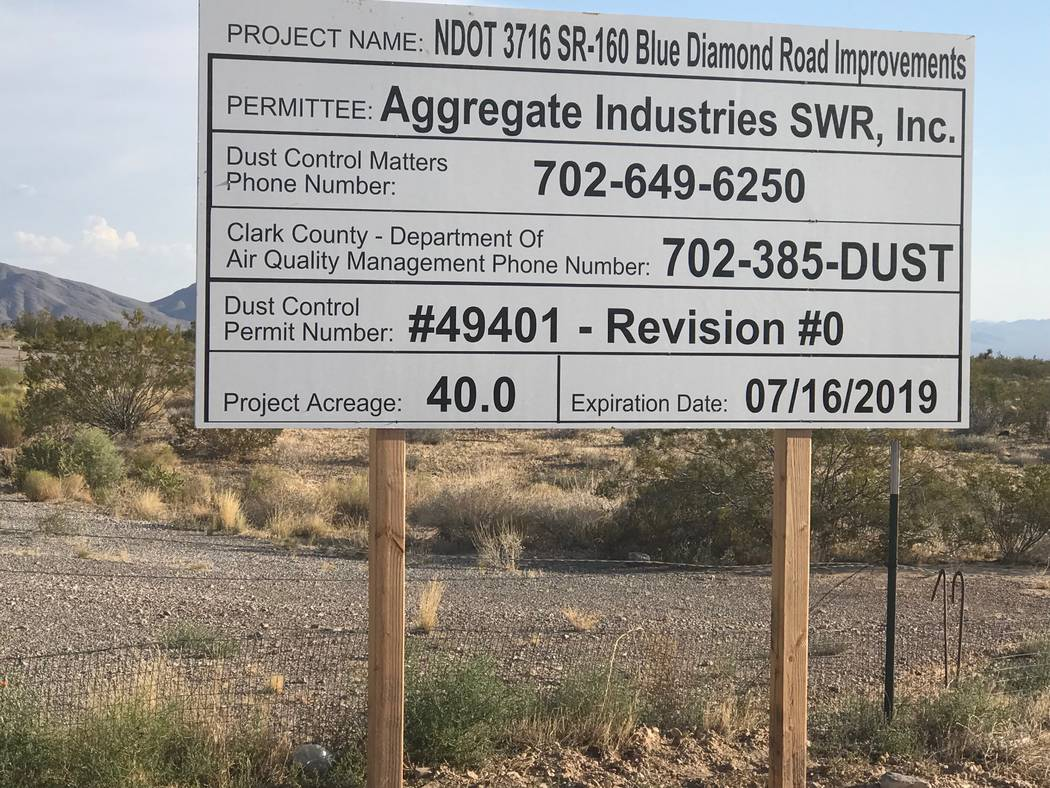 Jeffrey Meehan/Pahrump Valley Times A sign sits along the south side of Highway 160 just west of Mountain Springs on Aug. 20, 2018. Aggregate Industries SWR was awarded a roughly $59 million contr ...