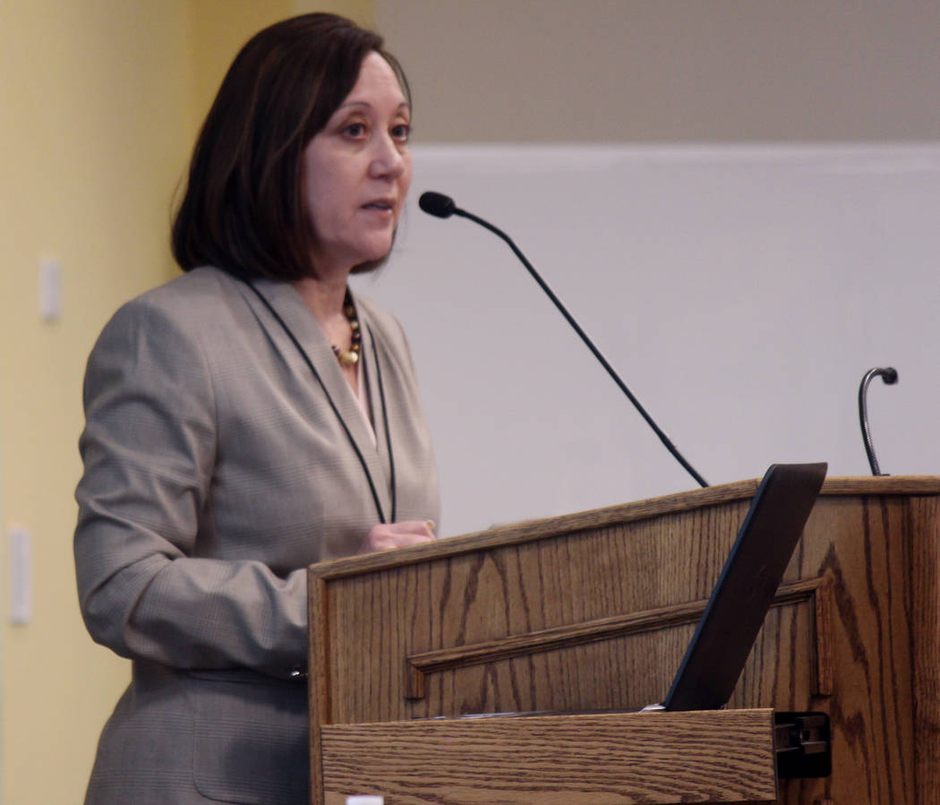 Jeffrey Meehan/Pahrump Valley Times Angela Evans, CEO of Valley Electric Association, speaks at an ambassador's meeting on Sept. 6, 2018 at Valley's conference center. Evans spoke about the co-op' ...