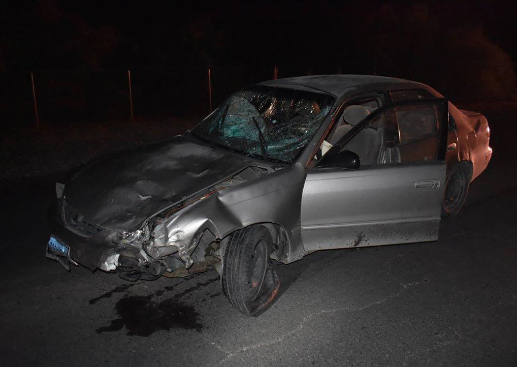 Special to the Pahrump Valley Times A minibike rider died following a collision with this vehicle early Saturday evening. The unidentified male victim was traveling along Kellogg Road between Quar ...