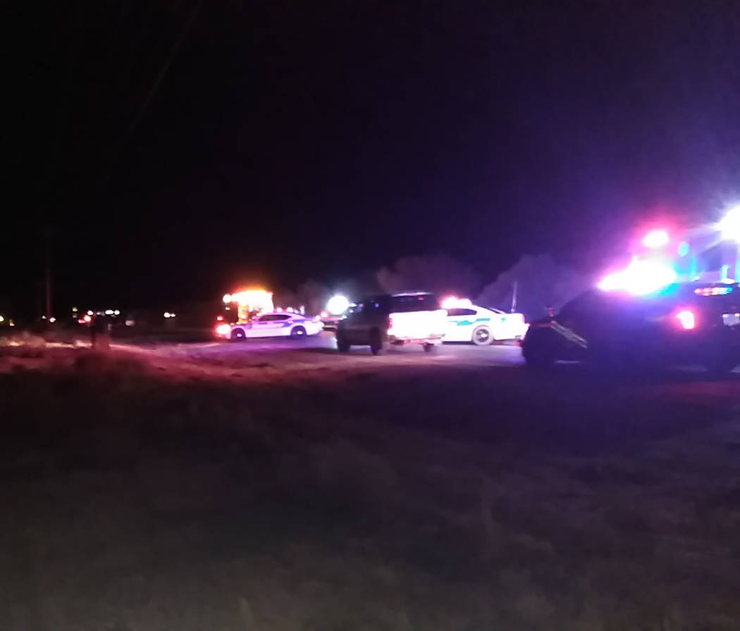 Selwyn Harris/Pahrump Valley Times Emergency crews from Pahrump Valley Fire and Rescue Station One located at Squaw Valley and Kellogg Roads were on scene just minutes after the fatal collision oc ...