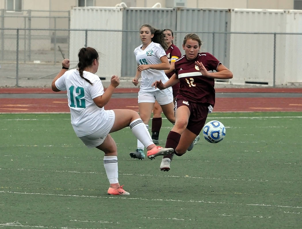 Horace Langford Jr./Pahrump Valley Times Pahrump Valley sophomore Madelyn Souza scored three goals during the Trojans' Sept. 4 victory over Sky Pointe.